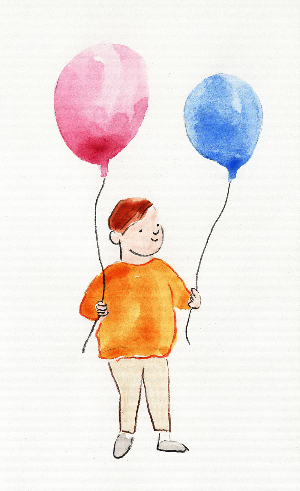 boy standing holding balloons