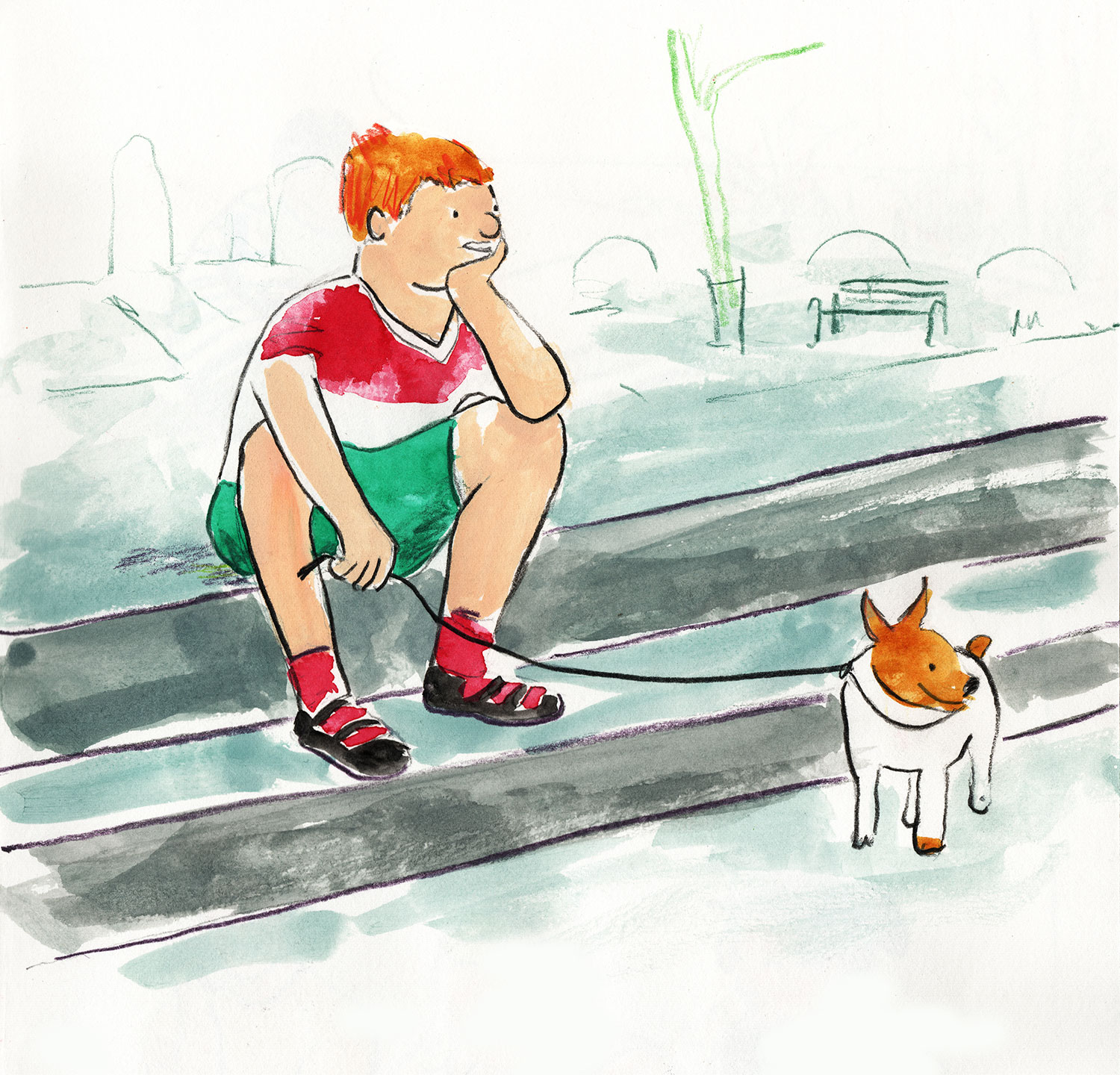 boy on step with his dog