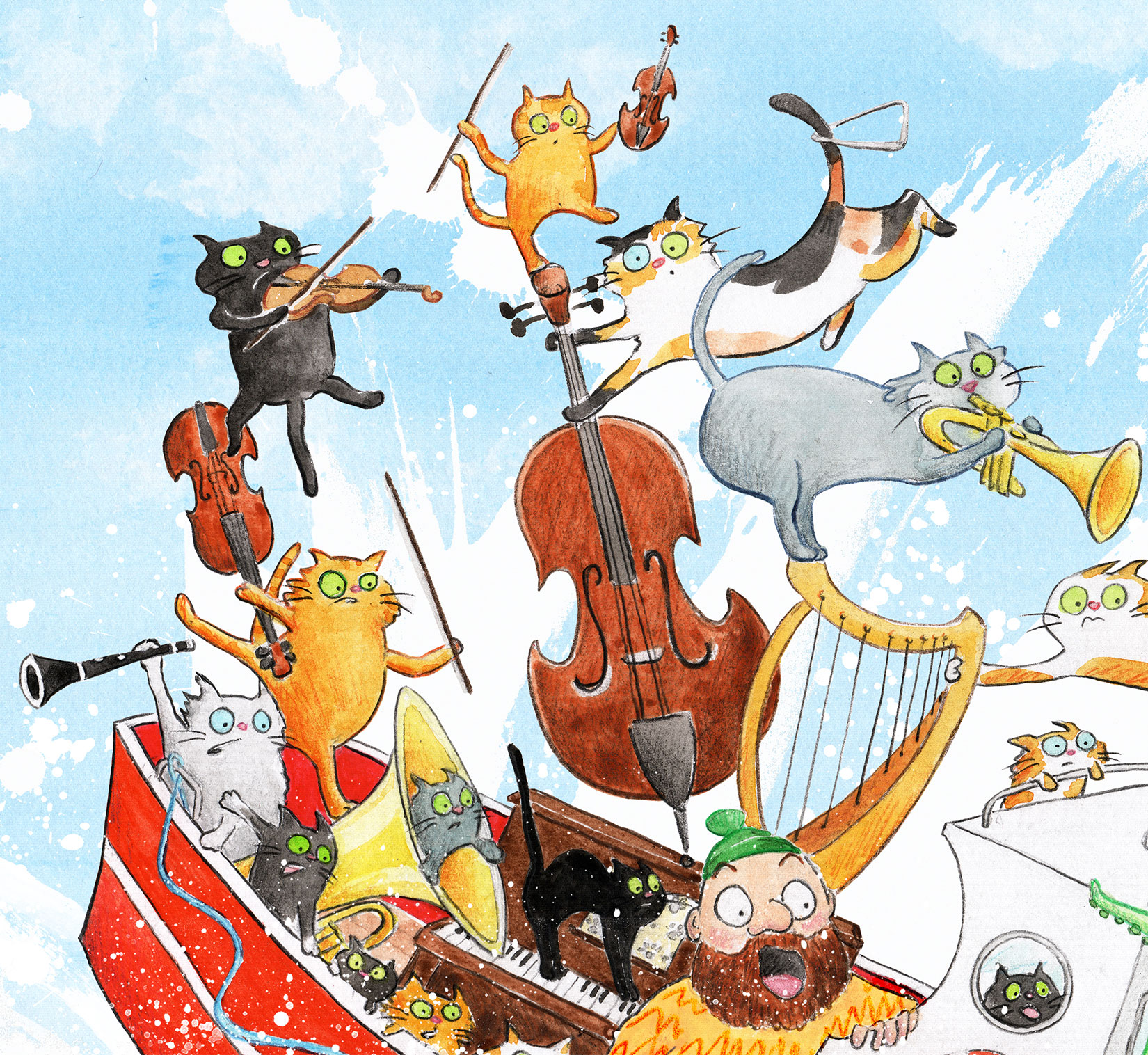 A cat orchestra are flung from their boat by two messing octopusses.