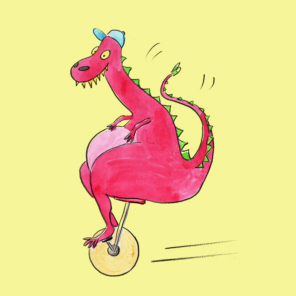 dinosaur on a bicycle