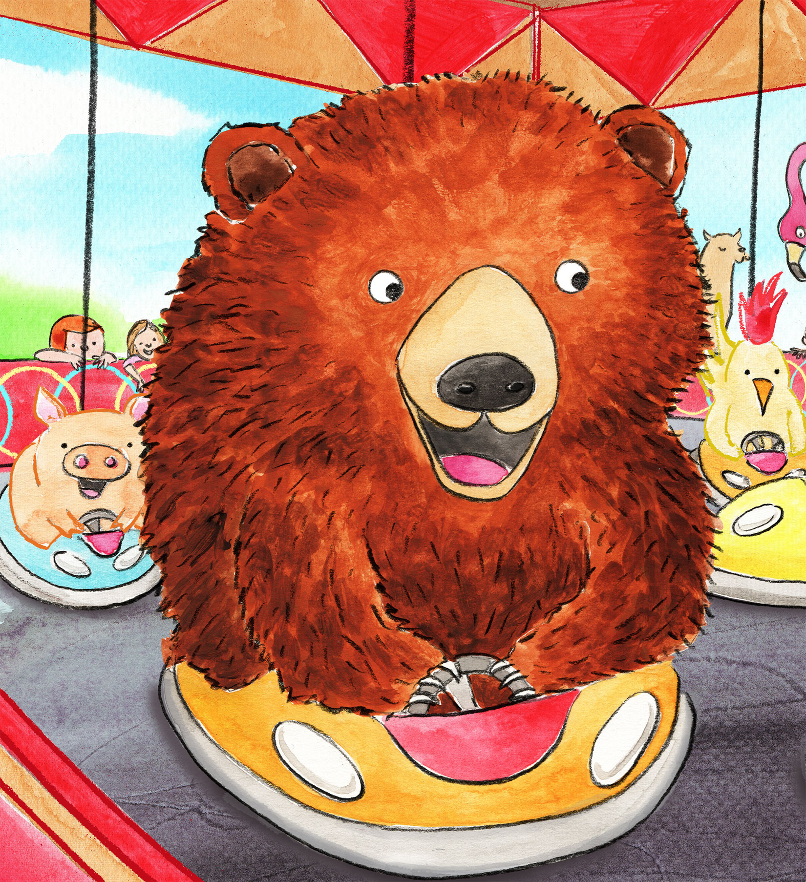 Dodgem cars, with a girl, a huge bear and other animals.