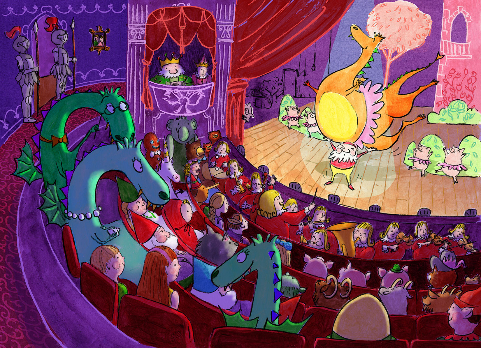 A theatre filled with fairytale characters, on stage is a ballet with a huge dragon lifted up by a gnome.