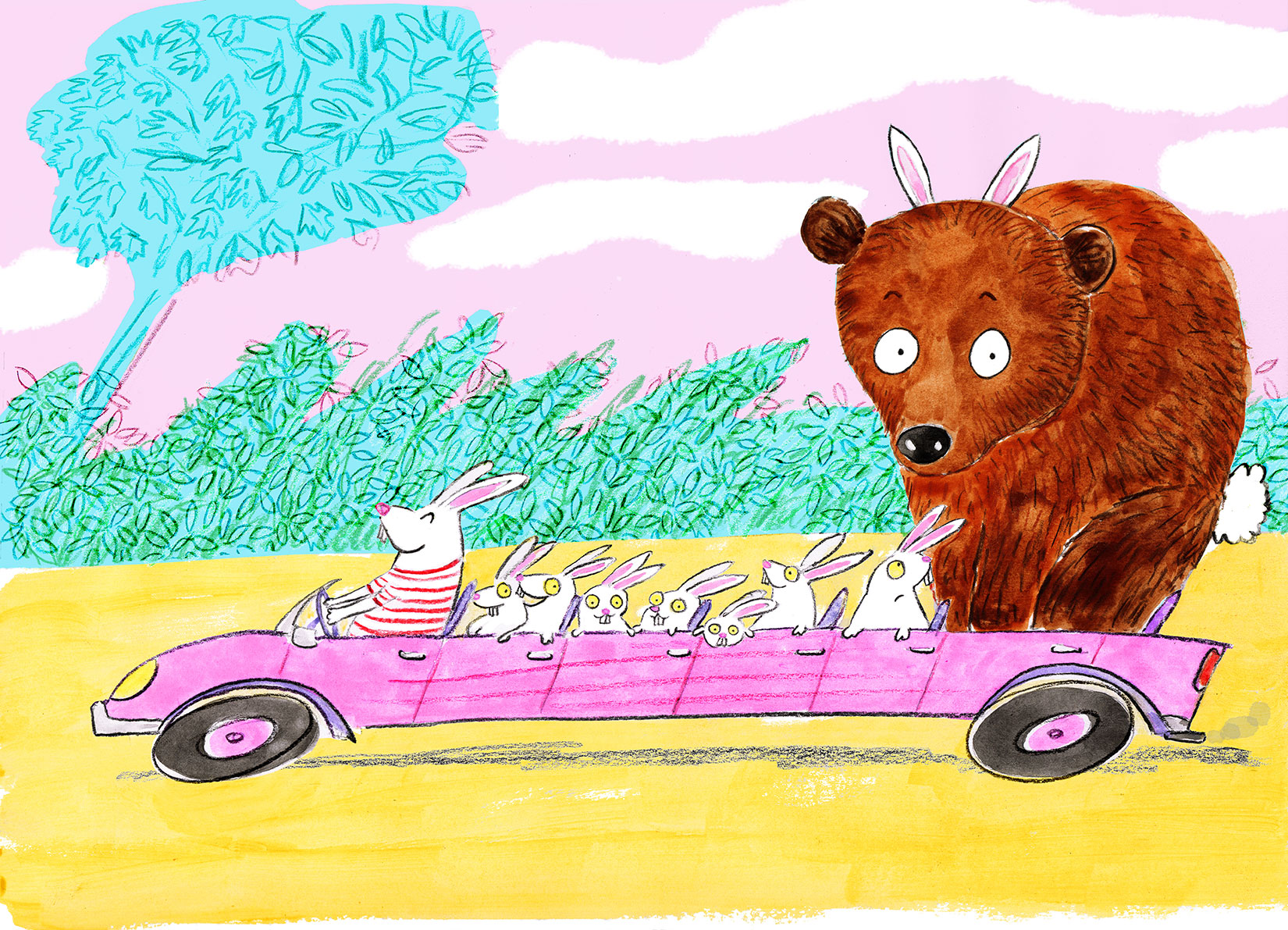 Long pink car full of easter bunnies with a giant bear in bunny ears disguise on the last seat