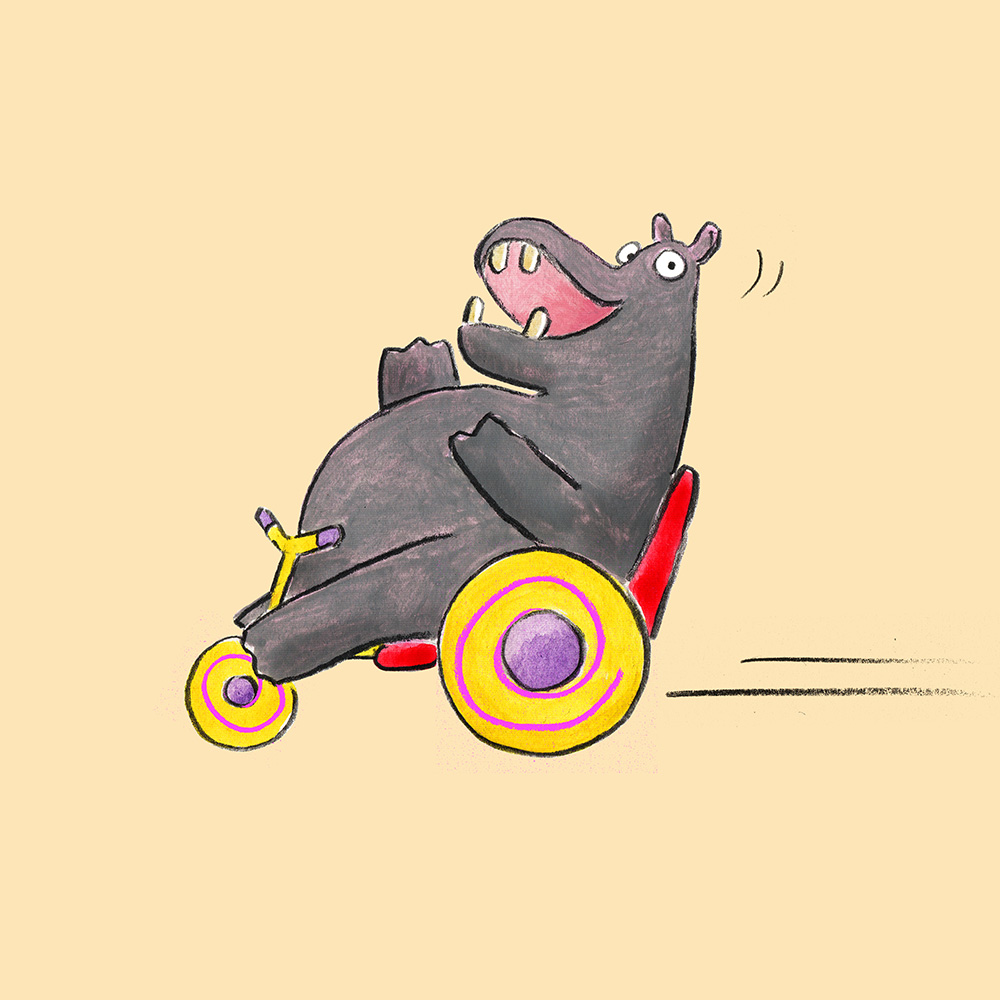 hippo on tricycle