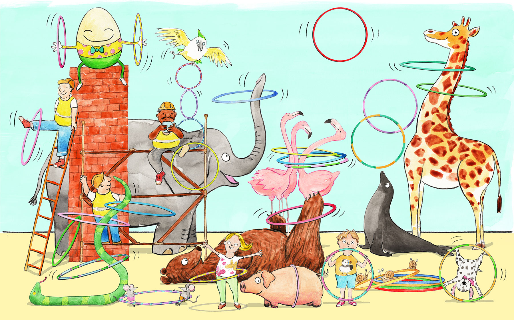 Animals and birds and a girl and a boy playing with many hula hoops