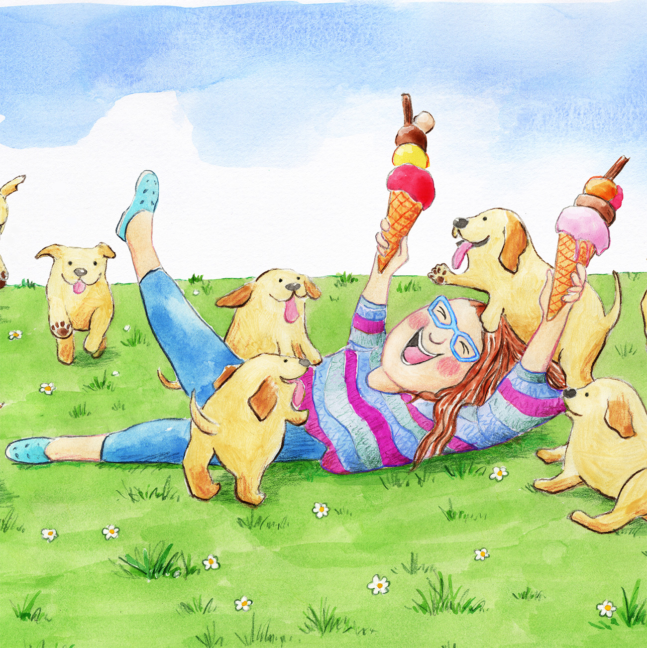 Girl fallen onto grass holding up 2 large icecreams with lots of puppies all around her