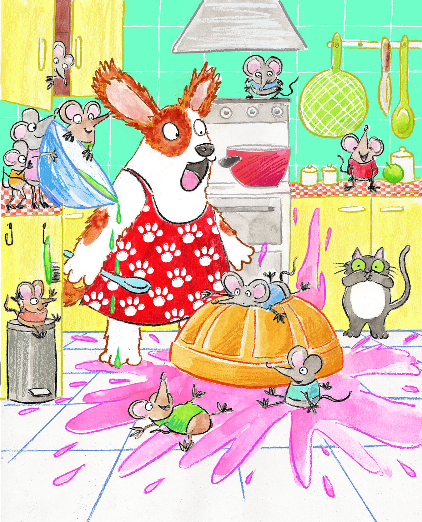 A dog baking in the kitchen stares at bowl of pink cake mix splatted all over the floor by a lot of mischievous mice. A useless cat looks on.