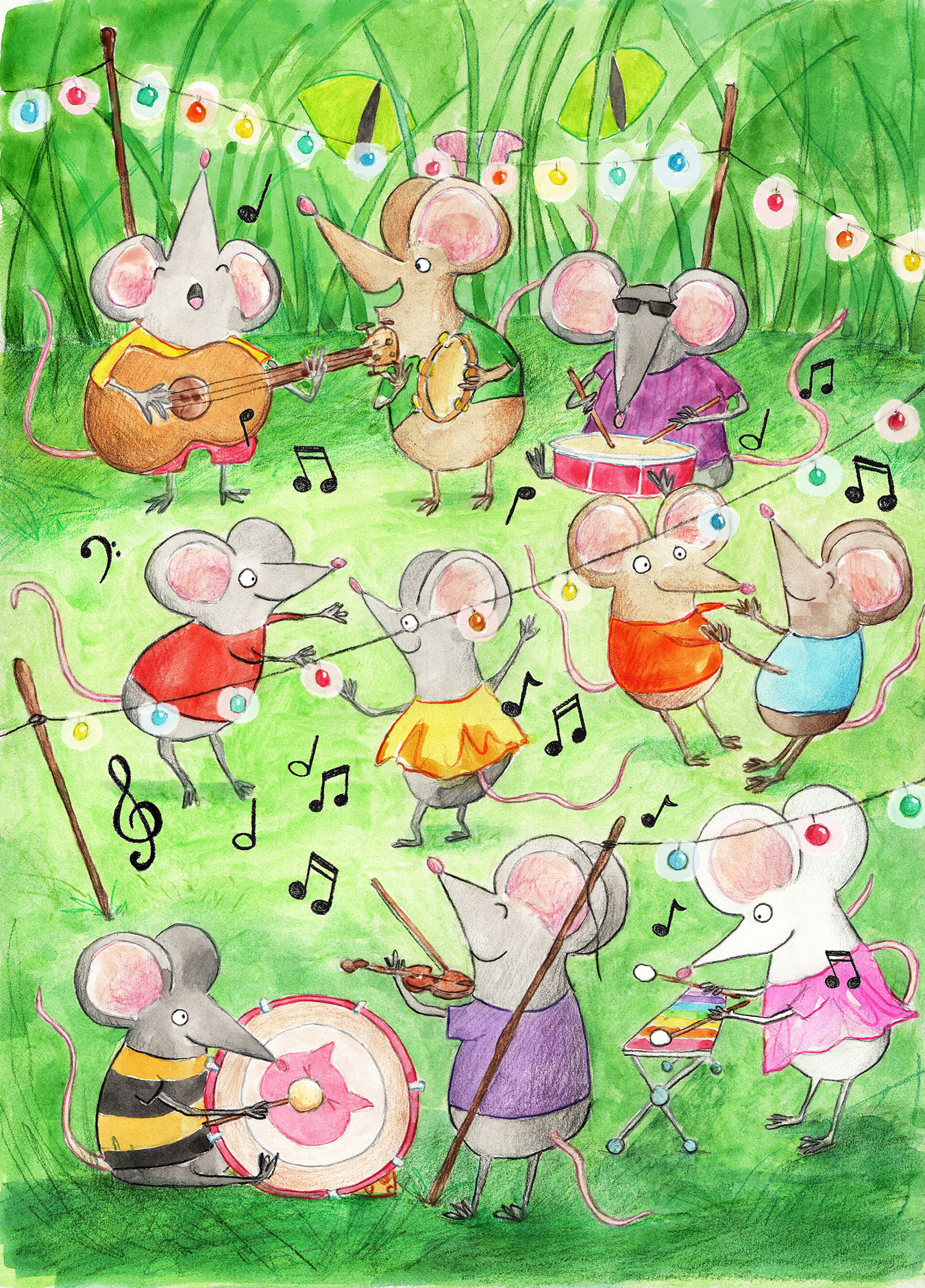 group of mice play music and dance on the grass
