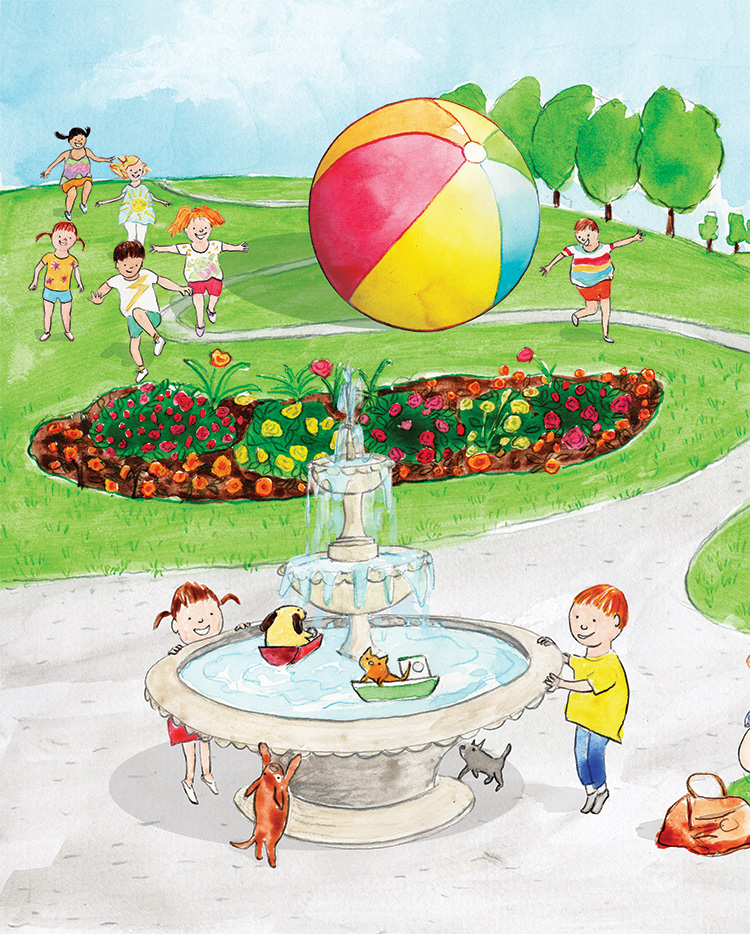 children running with giant beach ball in a park, family picnic and children at a fountain.