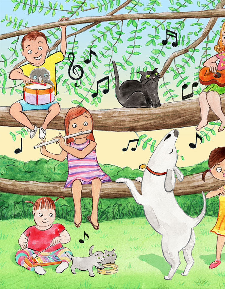 children playing music together with a singing dog at a big tree.