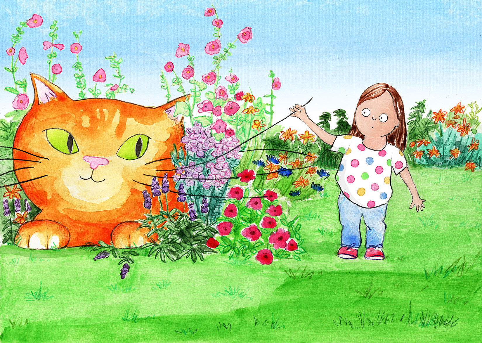 girl holding up whiskers of enourmous gigantic cat hiding behind the flowers in a garden