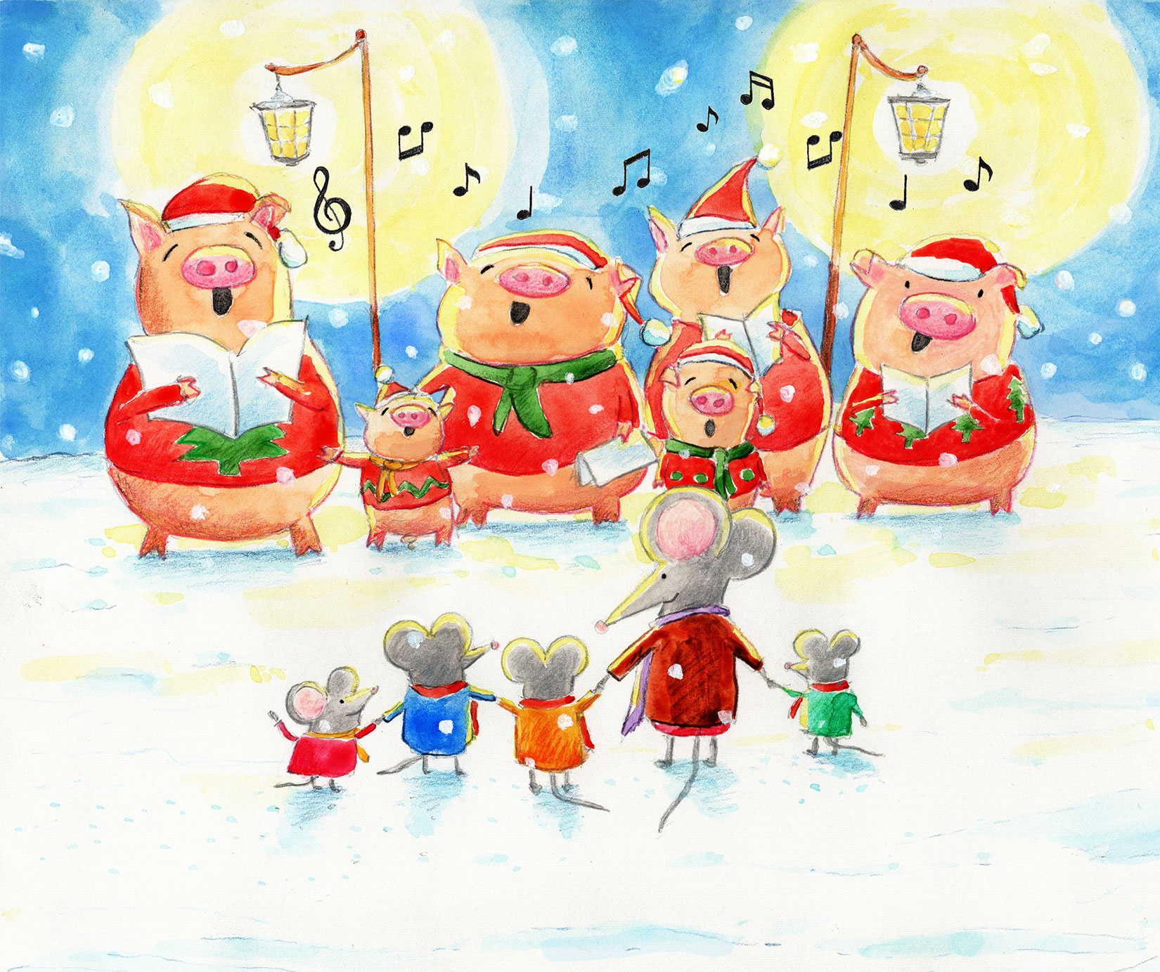 Pigs singing Christmas carols to mice